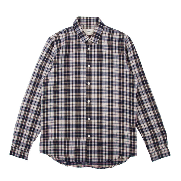 Checked Shirt - Navy Ecru Plaid