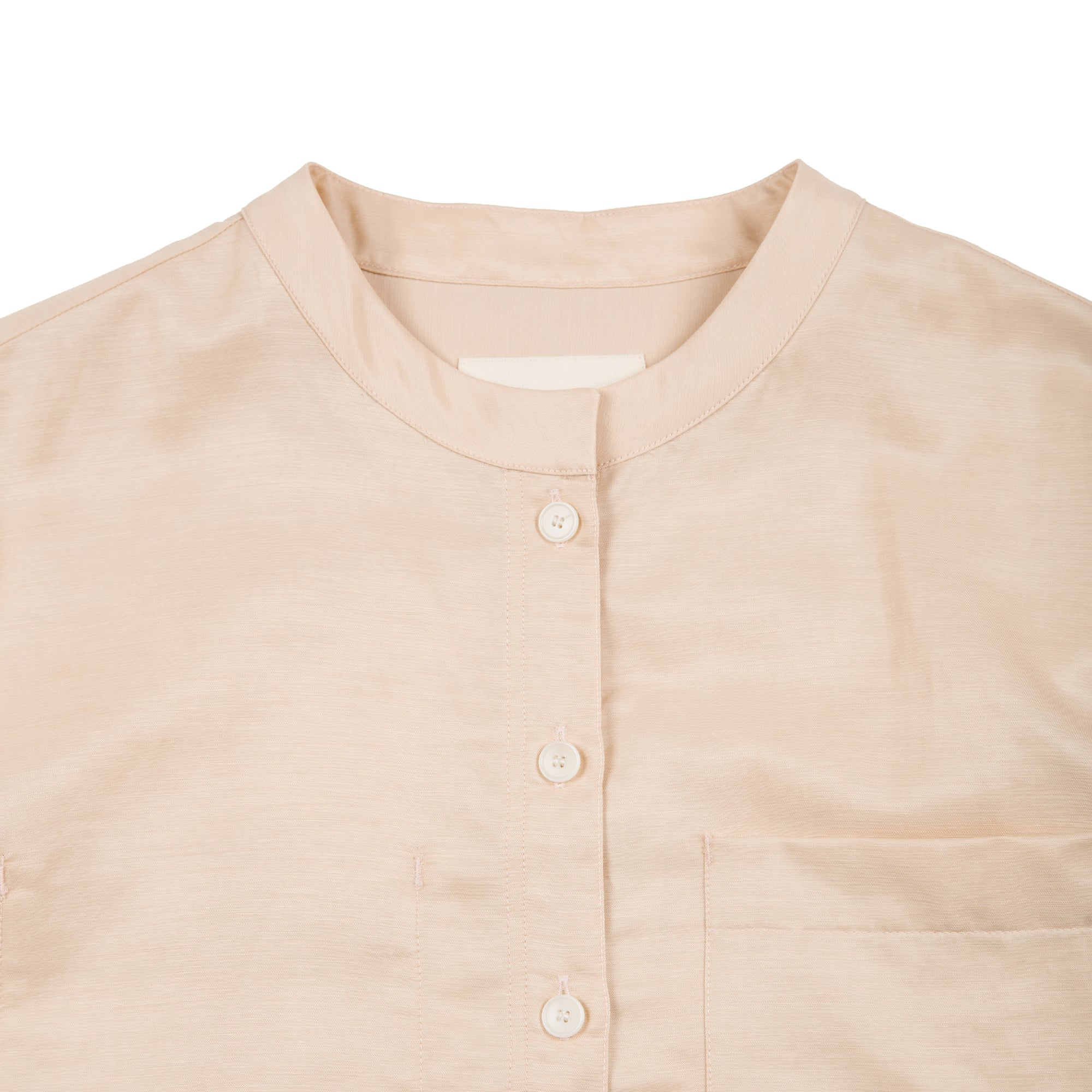 Collarless Shirt - Soft Pink