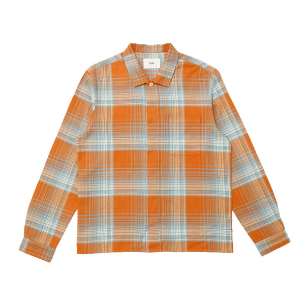 Patch Shirt - Blue Amber Check