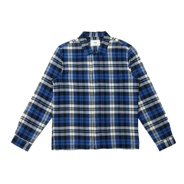 Patch Shirt - Blue Brushed Check