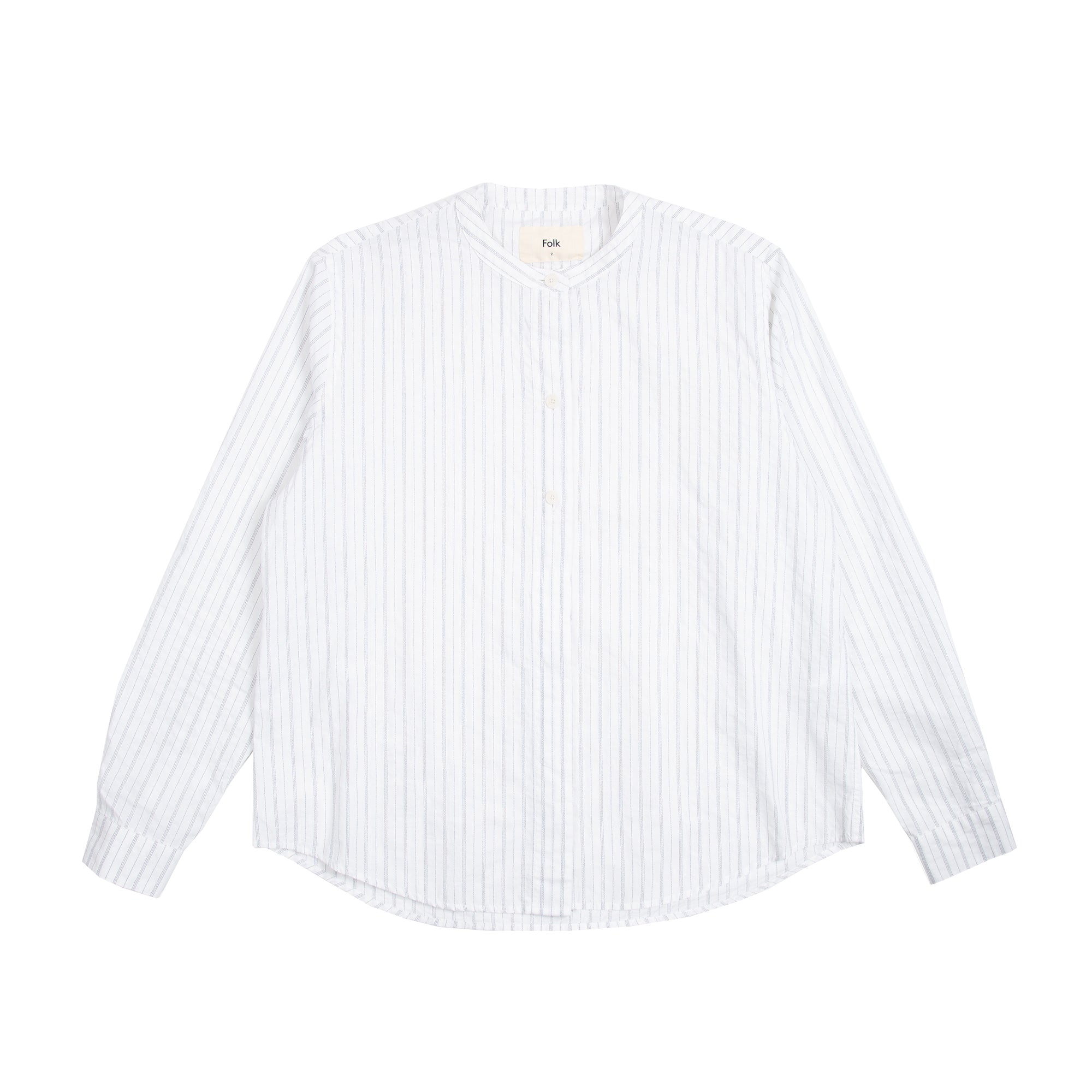 Half Placket Grandad - White Black Texture Stripe