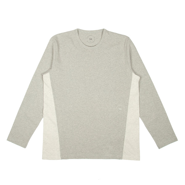 IAG Folk - Ls Panel Tee - Grey Melange Natural White