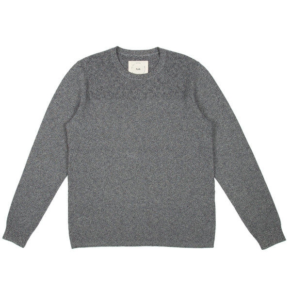 IAG Folk - Textured Panel Crew - Navy White Mix