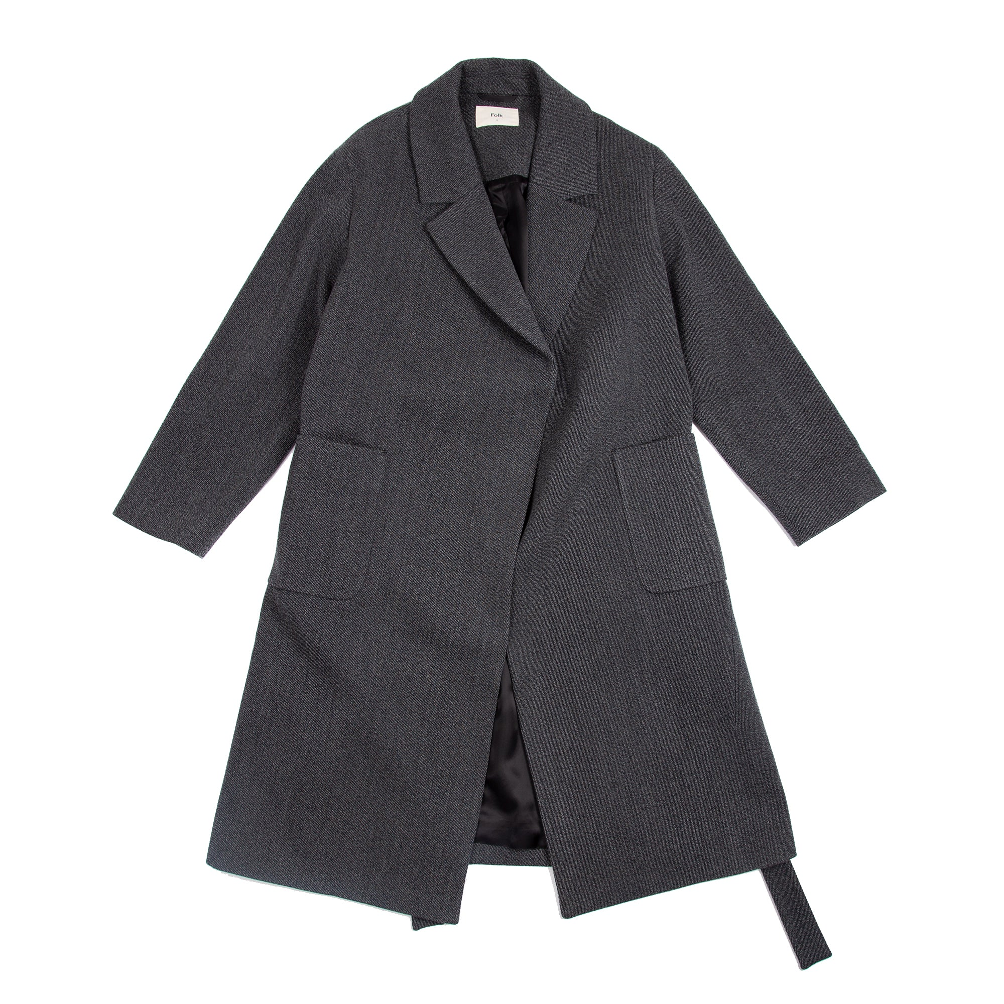 Robe Coat - Charcoal Melange Texture