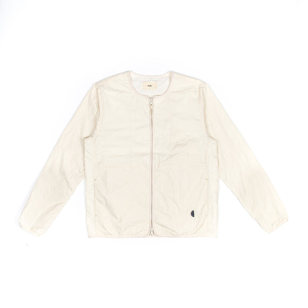Collarless Nylon Jacket - Ecru