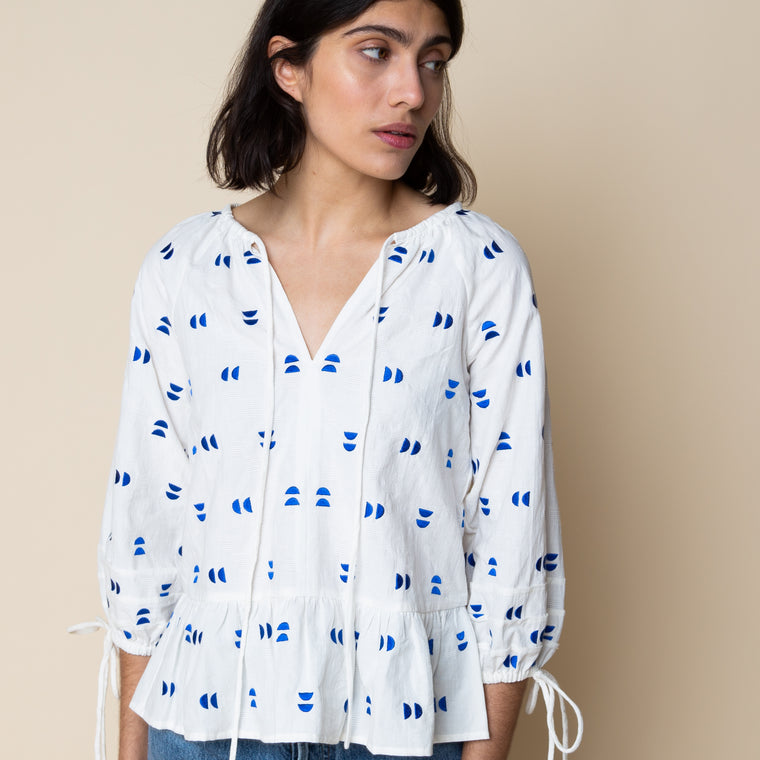 Sideline - Magda Top - White/Blue Embroidered