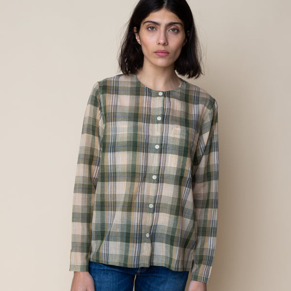 Collarless Shirt - Green Ochre Multi Check