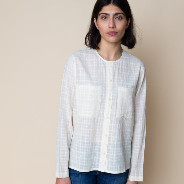 Collarless Shirt - Windowpane Check