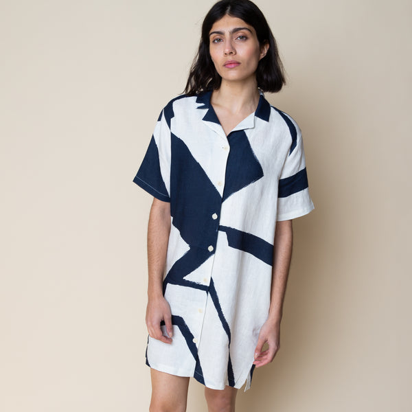 Printed Soft Collar Dress - Border Print Navy Ecru