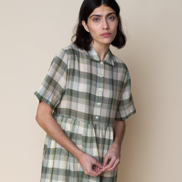 Loom Shirt Dress - Green Ochre Multi