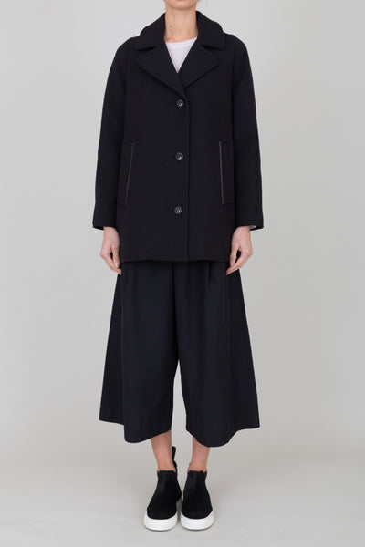 Cropped Swing Coat - Black