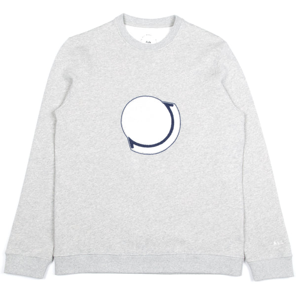 Embroidered Sweat- Grey Melange