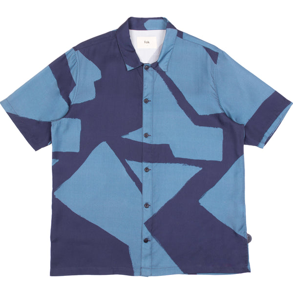 Gabe Shirt - Border Print Navy