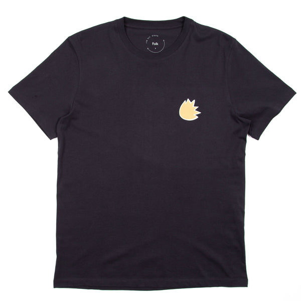 Leaf Print Tee - Navy Gold
