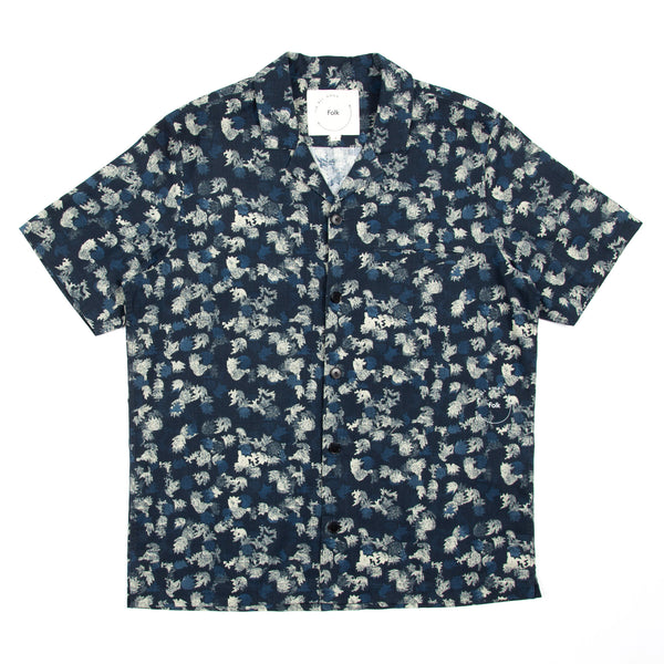 IAG Soft Collar Shirt - Navy Leaf Print