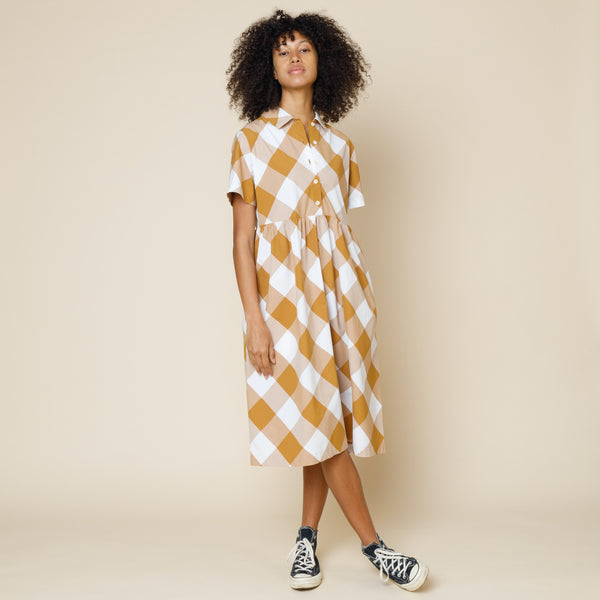 Loom Shirt Dress - Diagonal Tan Check