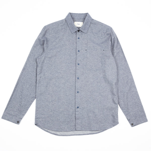 Stitch Pocket Shirt - Brushed Blue Melange