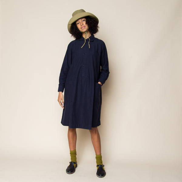 MHL - Asymmetric Collar Flare Dress - Navy