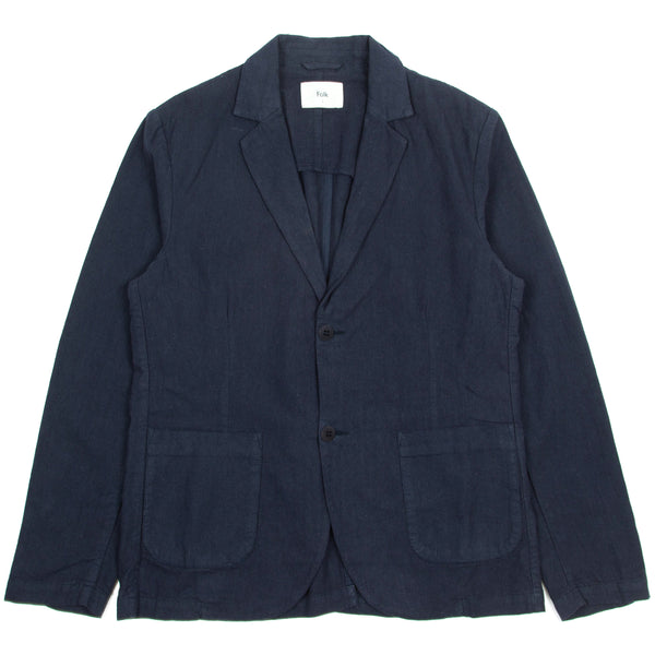 Cotton Linen Blazer - Navy