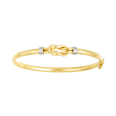 14K Yellow Square Knot Bangle with White Gold Accents