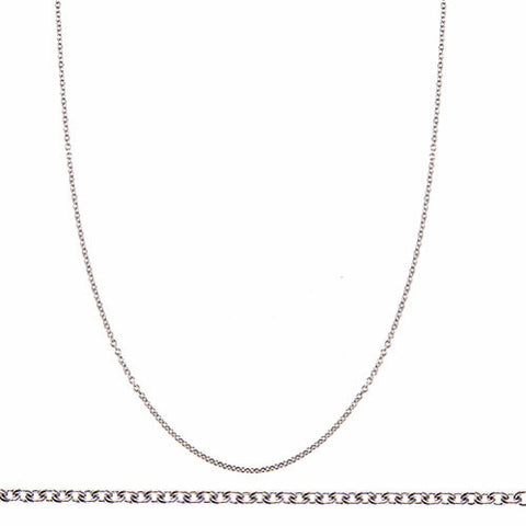 14K White Gold Cable Link Chain 1.1mm with Spring Ring Clasp