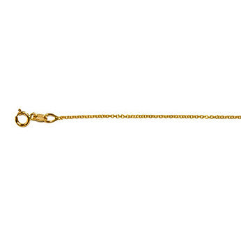 14K Yellow Gold Cable Link Chain 1.1mm with Spring Ring Clasp