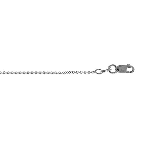 14K White Gold Fine Diamond Cut Cable Link Chain 1.3mm with Lobster Claw Clasp
