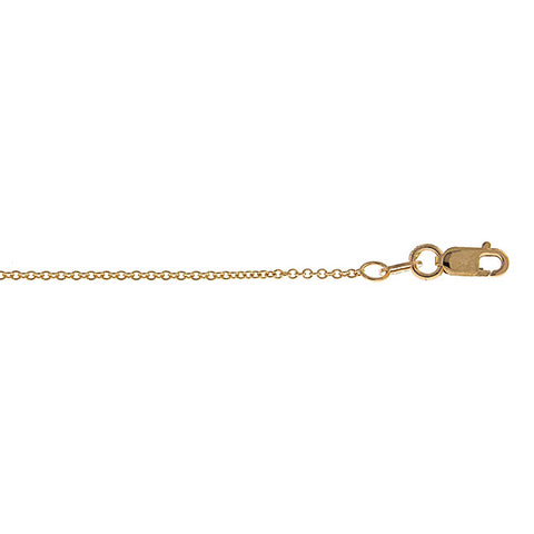 14K Yellow Gold Cable Link Chain 1.3mm with Lobster Claw Clasp