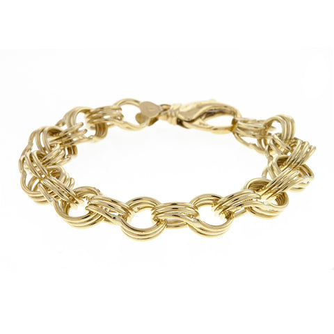 14K Solid Yellow Triple Link Charm Bracelet
