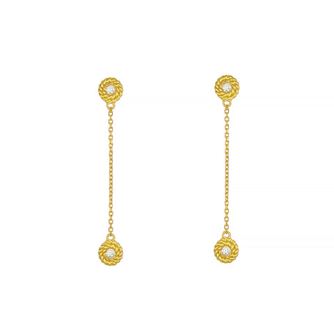 14K Diamond Dangle Post Earrings Rope Accent