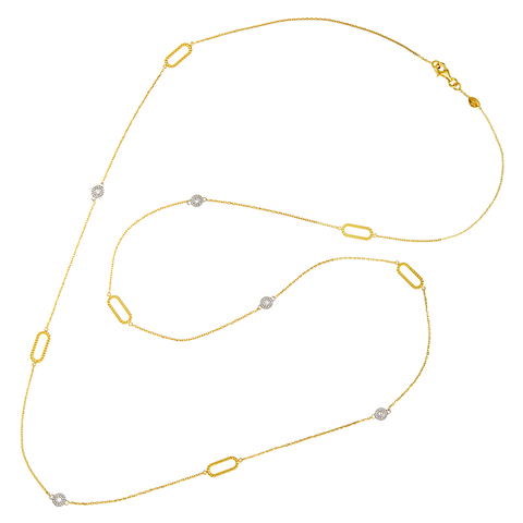 "34""  Nautical DBY & Paperclip Link Station Necklace in 14K Yellow with White Gold"