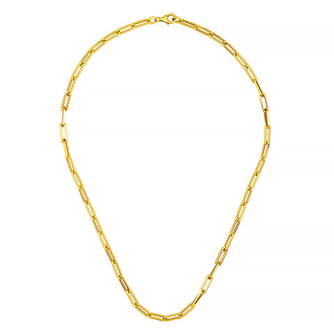 14K Flat Paperclip Link Necklace