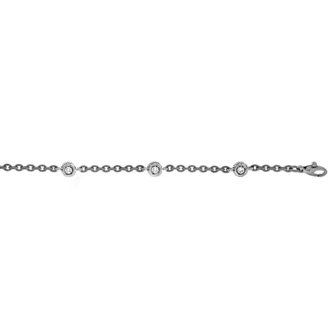 18K White Rope Detailed Bezel Set Diamond Bracelet