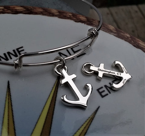 Engrave-able Sterling Silver Anchor Charm and Bracelet