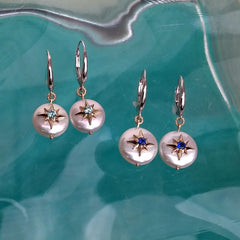 Caribbean Compass Rose Pearl Earrings in 14K