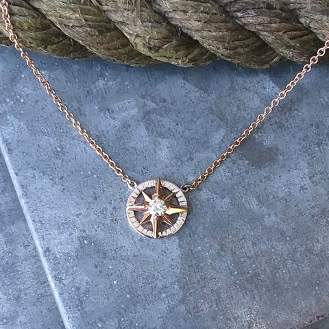 Medium Compass Rose  Necklace in Rose and White golds
