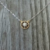 Petite Compass Rose Necklace with Rope Rim in 14K