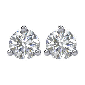 "14K White Gold ""Martini"" Style Diamond Stud Earrings"