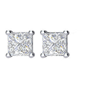 14K 4-PRONG PRINCESS-CUT DIAMOND STUD EARRINGS