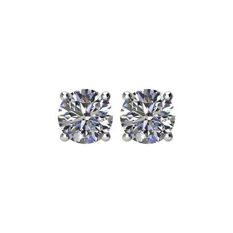 14K 4 PRONG BASKET STYLE DIAMOND STUD EARRINGS