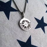 Compass Rose Pendant in Sterling Silver with Custom Coordinates   3/4""