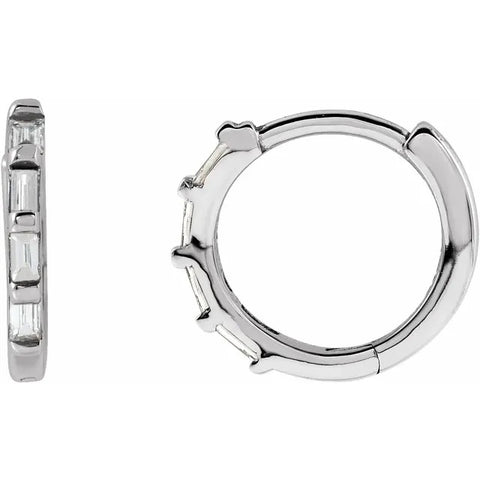 Petite 14K White Gold Hinged Hoop set with 1/10ct tw Baguette Diamonds