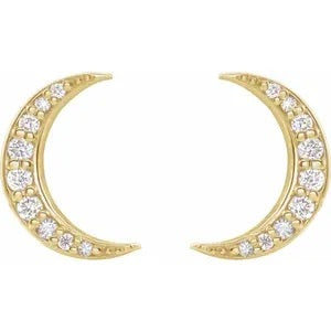 14K Crescent Moon Diamond post Earrings