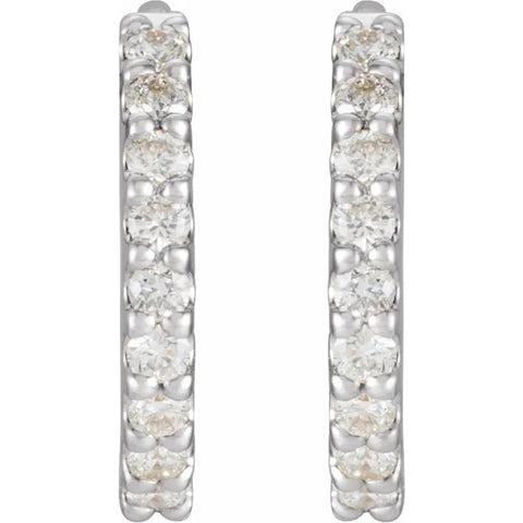 Petite 14K White Gold Hinged Diamond Hoop Earrings