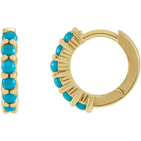 14K Yellow Gold Hinged Hoop set with Cabochon Turquoise