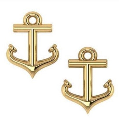 Petite 14K  Anchor Stud Earrings