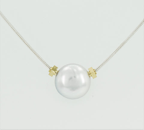 Solitaire Coin Pearl Necklace with Signature 14K Yellow Gold Beads on Sterling Silver Snake Chain