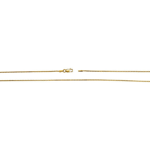 14K Yellow Gold Diamond Cut 1mm Wheat Chain with Lobster Claw Clasp