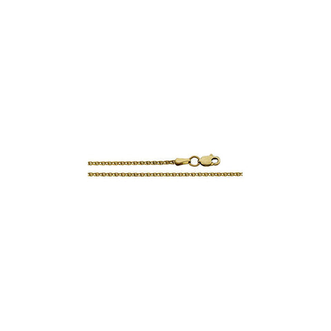14K Yellow Gold Diamond Cut 1.5mm Wheat Chain with Lobster Claw Clasp
