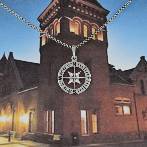 Lancaster, Pennsylvania Compass Rose Coordinates Jewelry in Sterling Silver